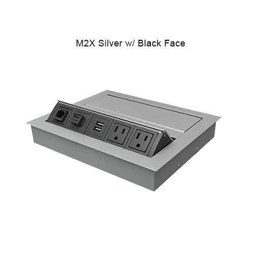 M2X Power/Data Desk Outlet, Silver with Black Face - icon