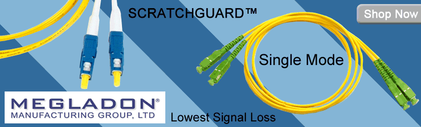 Megladon Single Mode SCRATCHGUARD fiber optic patch cords