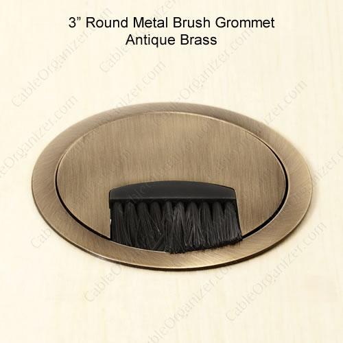 3inch round brush grommet - antique brass