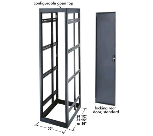 middle atlantic mrk series rack enclosure with locking rear door and labeled features icon