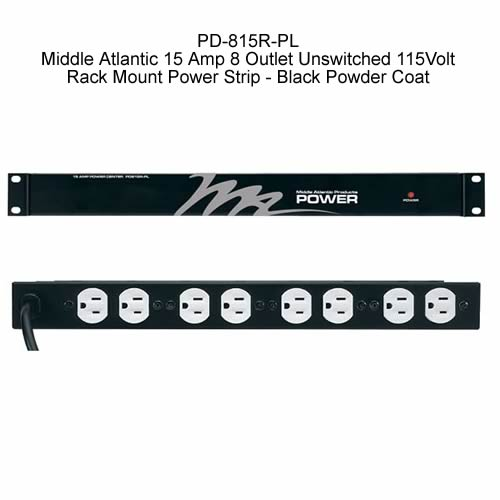 Middle Atlantic PD-815R Series Unswitched Power Strip front and rear view icon