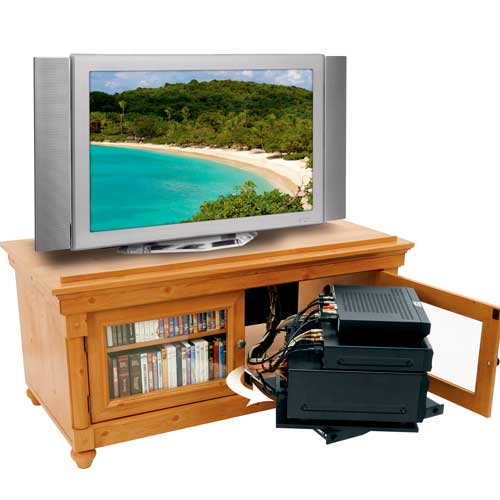 Middle Atlantic REB Series Rotating Sliding Base in use outside tv stand icon