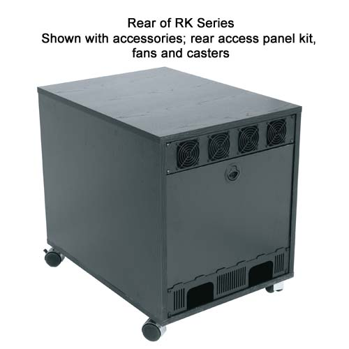 rear view of Middle Atlantic RK brk Series Laminate Enclosure with rear access panel kit fans and casters icon