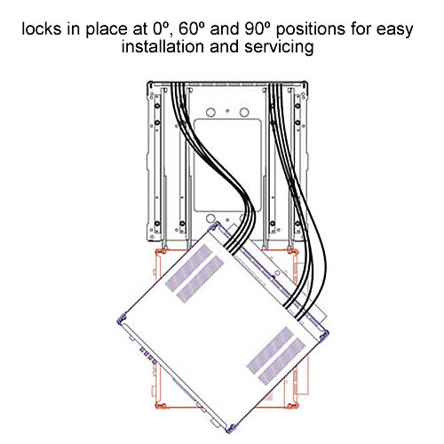 diagram showing 0 degere 60 degree and 90 degree locking positions of middle atlantic srsr series rotating sliding rail system - icon