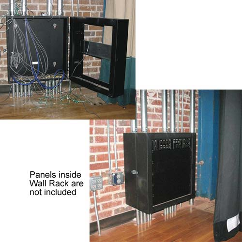 Middle Atlantic SWR Shallow Wall Rack shown empty and loaded with panels - icon