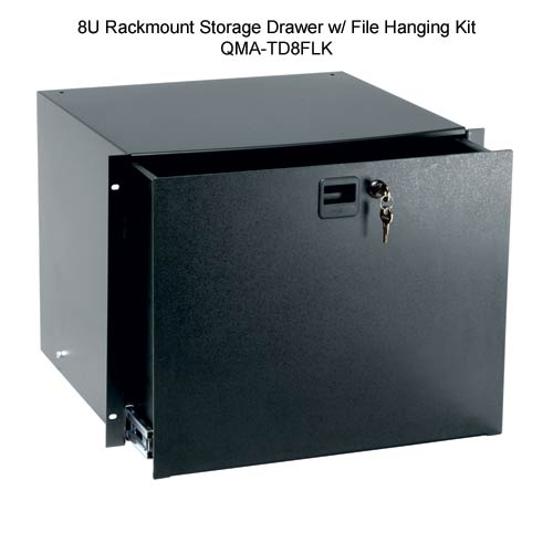 black anodized rack mount drawer, D3 - icon