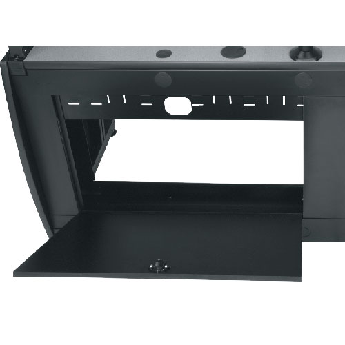 close up of Middle Atlantic LCD Monitoring Command Desk locking door icon