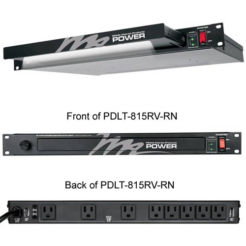 Middle Atlantic 115 Volt Rack Mount Light with Power Distribution front and back views icon