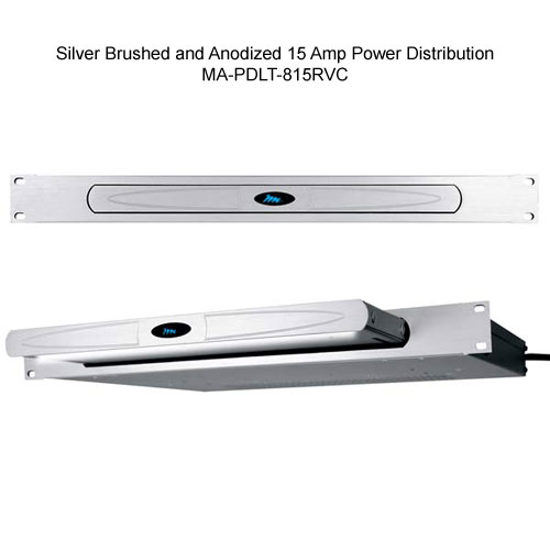 silver brushed and anodized Middle Atlantic Rack Mount Light with 15 Amp Power Distribution open and closed view icon