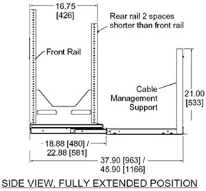 side view diagram of rack extended