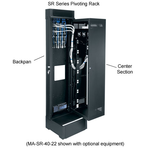 Middle Atlantic SR Series Pivoting Rack Enclosure shown with features labeled icon