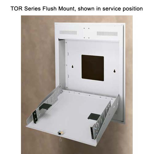 Middle Atlantic TOR Series flush mount Tilt Out Wall Rack installed and shown in service position icon