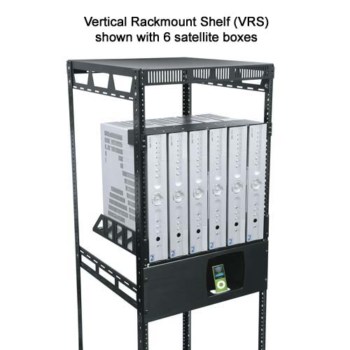 Middle Atlantic Vertical Rackmount Shelf shown with 6 satellite boxes icon