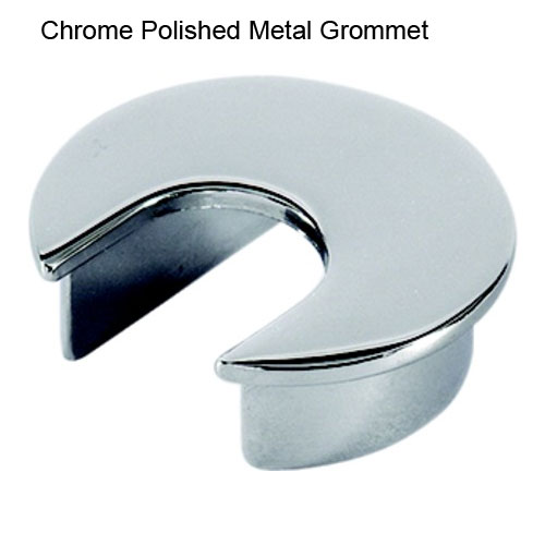 "Chrome Polished Metal Grommet for 1-9/16"" hole"