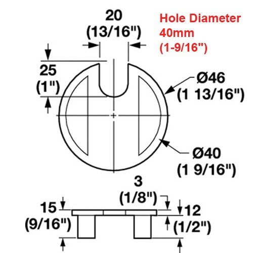 dimensional drawings for 1-9/16in hole desk grommets