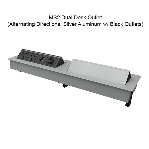 MS2 Dual Desk Outlet Alternate Directions Silver Aluminum w/ Black Outlets - icon
