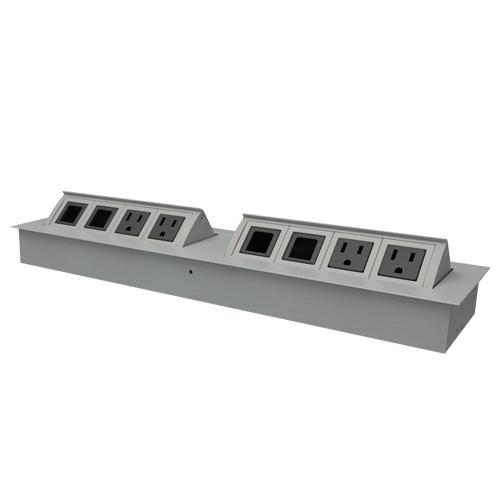 MS2 Dual Desk Outlet Single Direction Silver Aluminum w/ Black Outlets - icon