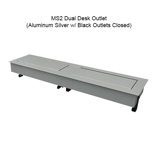 MS2 Dual Desk Outlet Silver Aluminum w/ Black Outlets Closed - icon