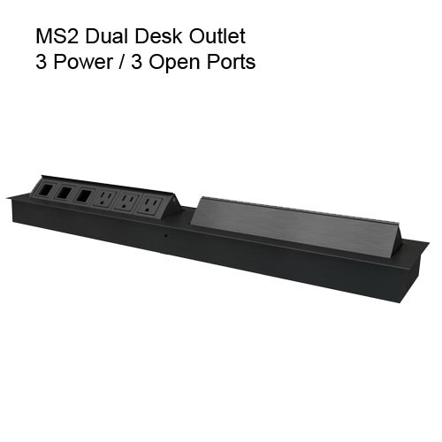 MS2 Dual Desk Outlet All Black 3 Power 3 Open
