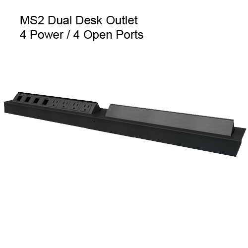 MS2 Dual Desk Outlet All Black 4 Power 4 Open
