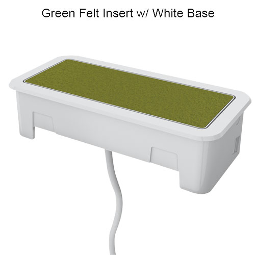 Nacre with white base and green felt insert
