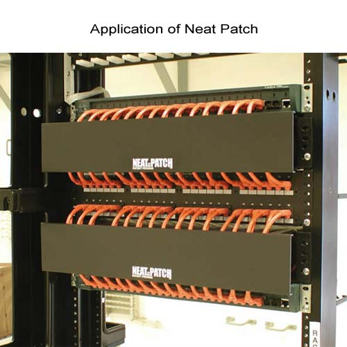 application of neat patch cable management unit on rack