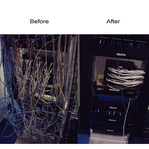 before and after application of neat patch panel