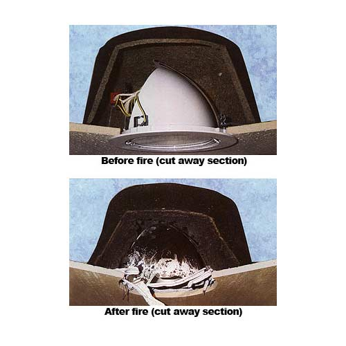 before and after fire cutaways of Tenmat Fire Rated Lighting Cover - icon