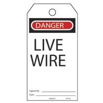 Plastic Tag, 'Danger Live Wire', 25 tags & ties/pk, RB/WH