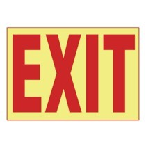Adhesive Sign, PhotoLuminescent, 'EXIT', 10