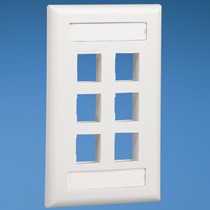 NK 6-port, single gang, flush mount vertical faceplate with labels