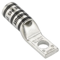 Copper Compression Lug, 1 Hole, #4 AWG, Narrow Tongue, #10 (4.8mm) Stud