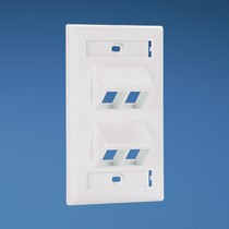 NetKey 4 Port Sloped Vertical Faceplate with Labels