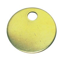 Marker Tag, Brass, Circle, 1 Hole, 1.0