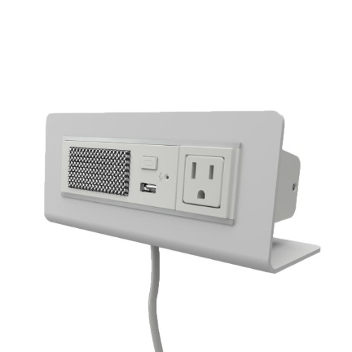 white desk outlet with bluetooth speaker
