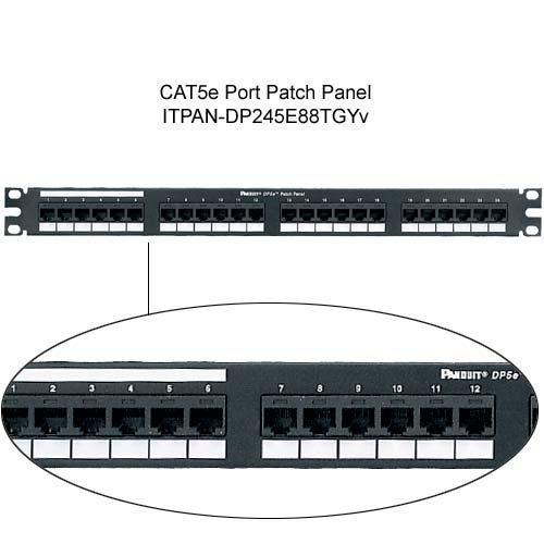 Panduit DP5e PLUS 24 port Patch Panel with close up of jacks