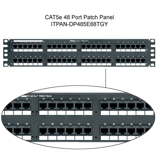 Panduit DP5e PLUS 48 port Patch Panel with close up of jacks