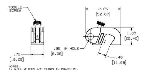 drawing of panduit no tool circuit breaker lockout with dimensions - icon