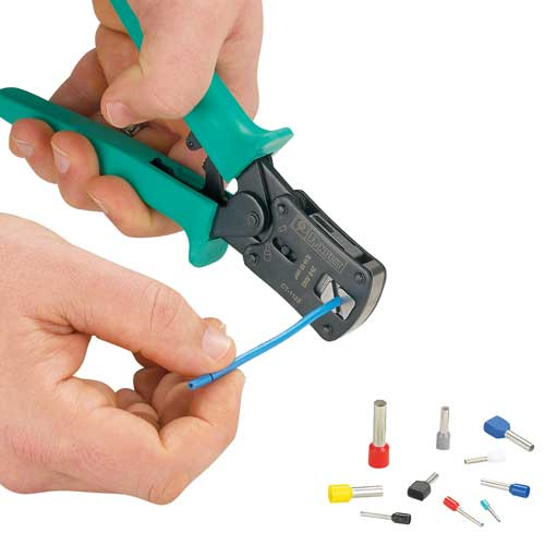 panduit Controlled Cycle Crimp Tool in use scoring cable - icon
