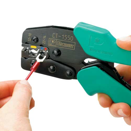 panduit Controlled Cycle Crimp Tool in use crimping connectors - icon