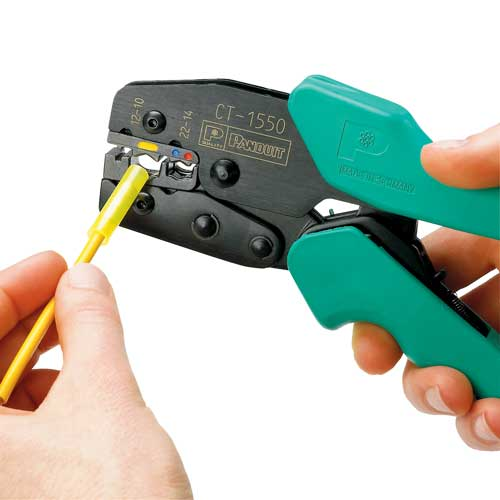 close up of panduit Controlled Cycle Crimp Tool in use - icon
