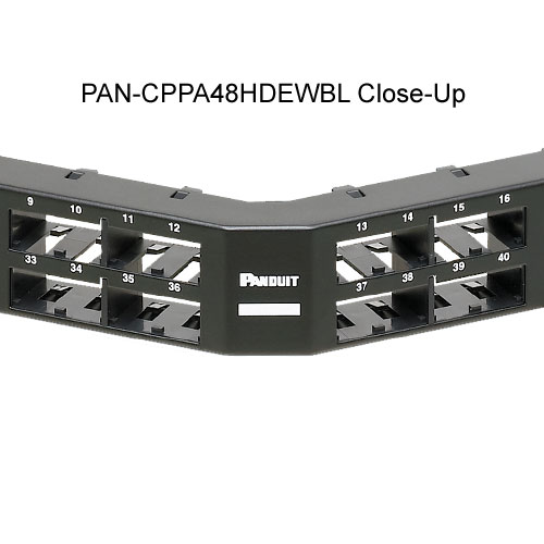 close up of Panduit Mini-Com High Density 48 port angled Modular Patch Panels - icon