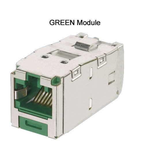Panduit Mini-Com TX5e and TX6A Keyed Shielded Module in green - icon