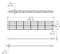 specs for patch panel and strain relief bar