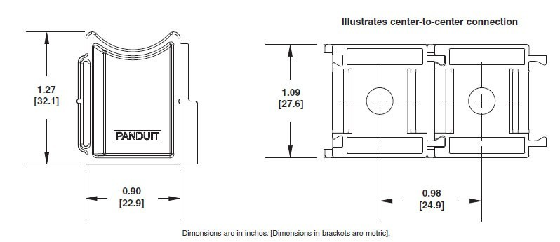 dimensional drawings of cable tie mount