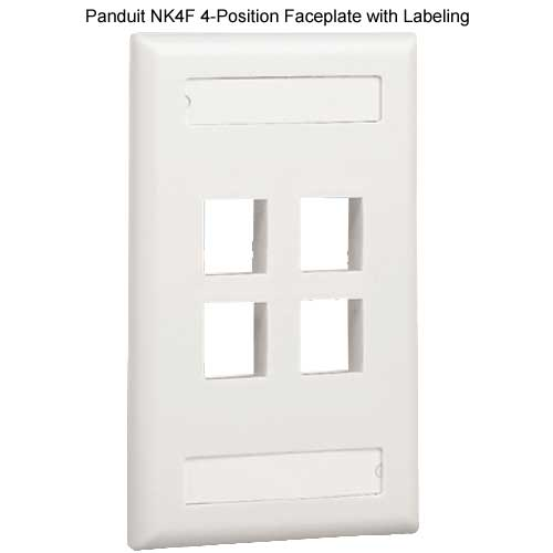 PANDUIT NetKey Flush Mount 4 position Communication Faceplate with labeling - icon