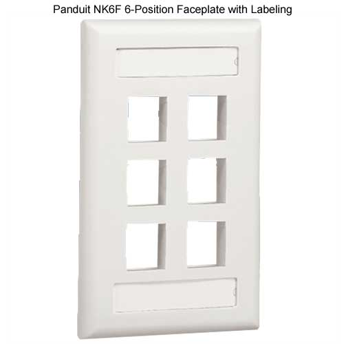 PANDUIT NetKey Flush Mount 6 position Communication Faceplate with labeling - icon