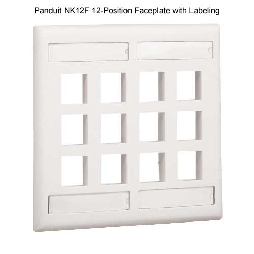 PANDUIT NetKey Flush Mount 12 position Communication Faceplate with labeling - icon