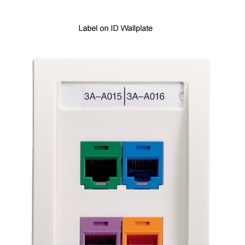 panduit P1 Network Component Label in use on id wallplate - icon