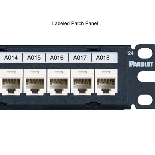 panduit P1 Network Component Label in use on patch panel - icon